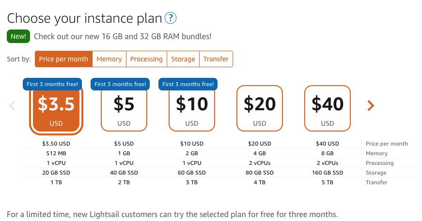 Screenshot: choose AWS Lightsail plan.