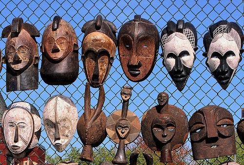 Masks on a fence