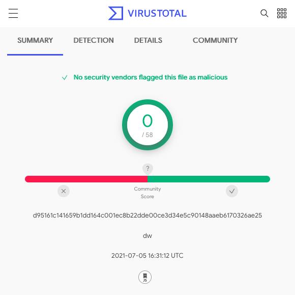 VirusTotal screenshot
